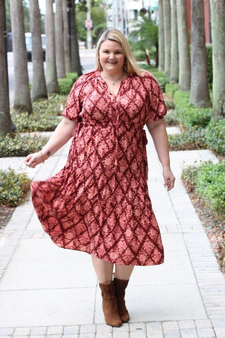@walmartfashion #walmartfashion #ad Dress fits true to size- wearing the size XL. Booties fit true to size. Gold earrings and necklace also from Walmart!  #LTKunder50 #LTKworkwear #LTKcurves