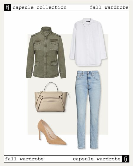 Fall capsule wardrobe. Utility jacket fall outfit idea for business casual workwear. Pair a white button up shirt with non ripped jeans and pumps! Use code JACKSON15 for a discount on the shirt   #LTKstyletip #LTKunder50 #LTKunder100
