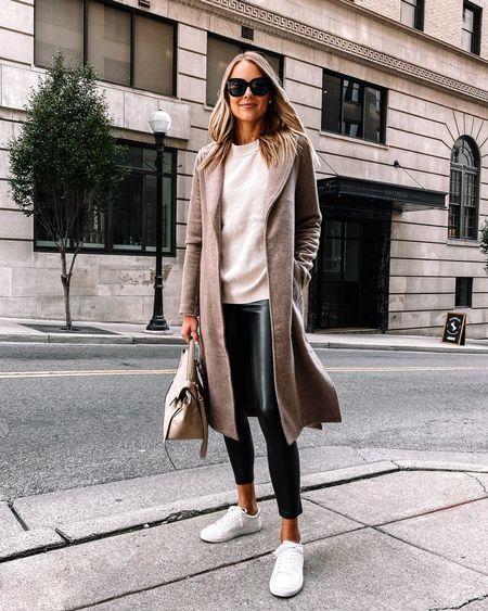Long car coat from Abercrombie perfect for fall #falloutfits #fallcoat #fauxleatherleggings   #LTKstyletip #LTKunder50 #LTKunder100