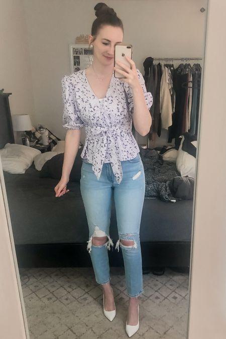 Wearing an XS, 26 bottoms, heels run tts.   date night outfit, curve love jeans, mom jeans, tie top, purple top, puff sleeve, floral top, Walmart fashion, Abercrombie, Steve Madden white pumps http://liketk.it/3ioWe #liketkit @liketoknow.it #LTKunder50