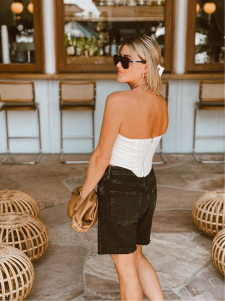 This bustier is amazing for the price & comes in a bunch of colors! I'm wearing the size 6-8. #bustier #corset #sunglasses #hoopearrings #amazonthedrop #bag #cloudbag #denim #bermudashorts #accessories #hmxme      #LTKunder50