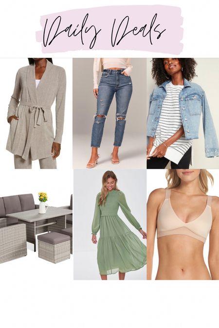 Barefoot dreams cardigan / abercrombie mom jeans / white striped tunic sweatshirt / 7 piece patio set / green smocked peasant dress / Spanx Bra-llelujah bra   #LTKsalealert #LTKstyletip #LTKunder100
