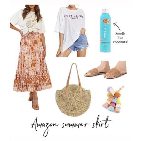 Today's Amazon summer finds /// floral skirt, graphic tee, tan sandals, beach tote, Coola sunblock #liketkit    http://liketk.it/3kFSa @liketoknow.it #liketkit  #LTKunder50 #LTKstyletip