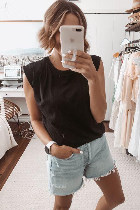 Black pleated muscle tee and denim shorts. @liketoknow.it http://liketk.it/3jf6i #liketkit #LTKunder50 #LTKunder100 #LTKstyletip