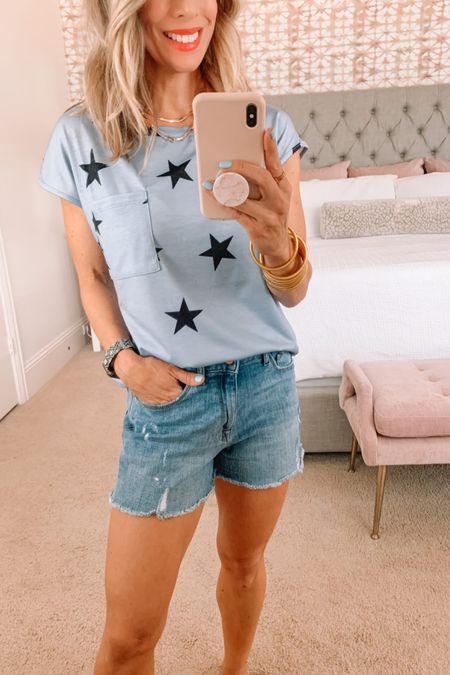 Star Tee and Jean Shorts   Tee Fit: I'm wearing a Small   Jeans Fit: I'm wearing a 25   http://liketk.it/3hDj8 #liketkit @liketoknow.it #LTKstyletip #LTKunder50 #LTKsalealert