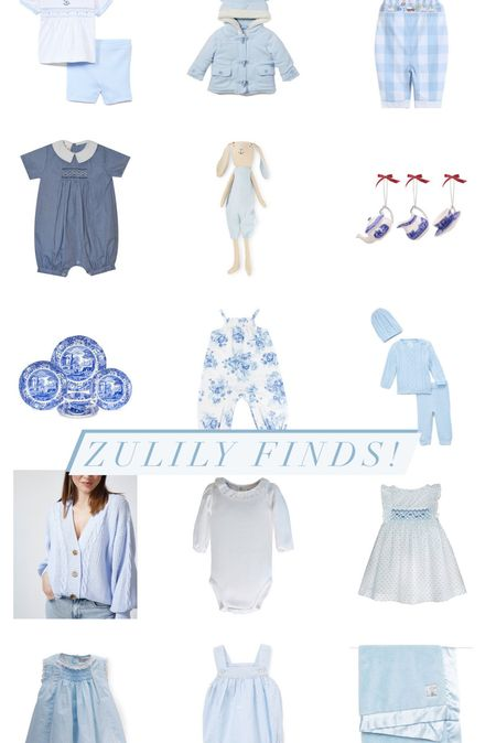 Zulily finds! #zulilyfinds @zulily  Blue toile, baby clothes, baby gifts, grandmillennial, ruffle collar, smocked dress, baby bunny, ruffle collared onesie, boys clothes, #baby #babyclothes, toddler clothes, Spode, blue and white home decor