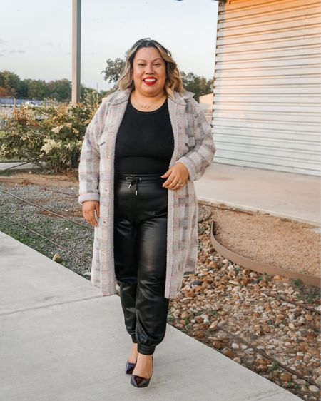 Faux leather joggers are officially my new favorite pant. Paired with a shirt jacket and my favorite red lipstick  http://liketk.it/2Zh1N @liketoknow.it #liketkit #LTKcurves #LTKstyletip #LTKbeauty