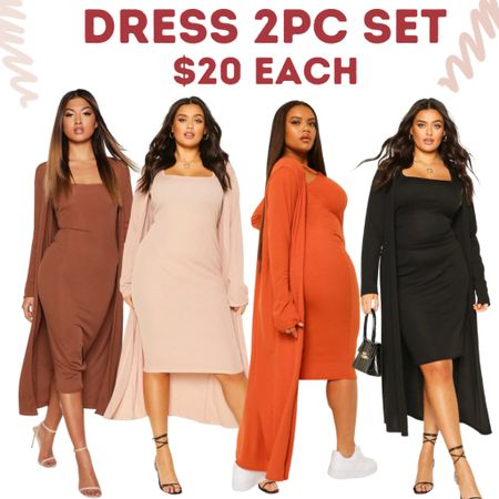 Dress and kimono style Jacket sets only $20! Vibrant and neutral colors. Plus size also available in some styles.    #LTKunder50 #LTKcurves #LTKsalealert