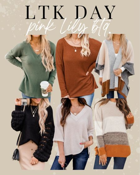 Pink Lily Boutique. LTK DAY SALE! Fall sweaters   #LTKunder50 #LTKstyletip #LTKSale