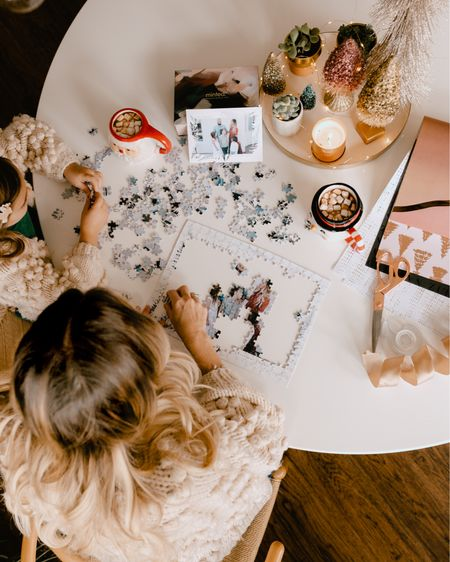 it's the puzzling for me.   puzzles have become a family holiday tradition around here. this year, I ordered a custom christmas puzzle of our fam to work on together from @minted. this kids were blown away how I managed to get a puzzle with OUR picture on it 🤯😂😍  I also started wrapping this week and it feels good to have a few things under the tree. can you spot a peek of those gorg @minted wrapping papers there in the corner? 😍 of course I went with all the foil prints in this pretty neutral blush color pallet I could find. and the paper from @minted  is 👌🏼 quality, of course. there's still time to shop both puzzle gifts and wrapping paper @minted! I'll put a swipe up for you guys in my stories tonight.   tonight we're off to another fun holiday activity! ahhh it feels like christmas. ☺️  #mintedholiday #mintedpartner #puzzles shop your screenshot of this pic with the LIKEtoKNOW.it shopping app. http://liketk.it/33HCU #liketkit @liketoknow.it #LTKgiftspo #LTKfamily #LTKunder50 @liketoknow.it.family