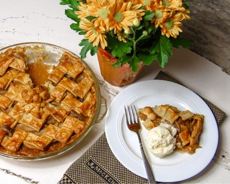 Warm apple pie and ice cream! Keep the glass pie dish close to my plate for 2nd helpings!!  #LTKFall #StayHomeWithLTK