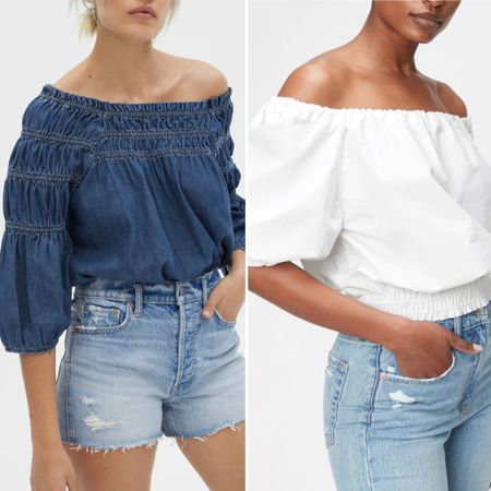 Off the shoulder looks from @thegap   You can instantly shop all of my looks by following me on the LIKEtoKNOW.it shopping app http://liketk.it/3hJzi #liketkit @liketoknow.it #summer2021 #thegap #offtheshoulder #datenighttop #beachvacation #gapsummer2021