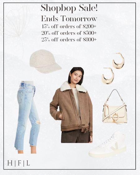 Shopbop Sale! Ends tomorrow! Mother denim, Veja high tops, gold hoops, wool baseball cap, shearling bomber jacket, see by Chloe crossbody or top handle, her fashioned life   #LTKSeasonal #LTKsalealert #LTKstyletip