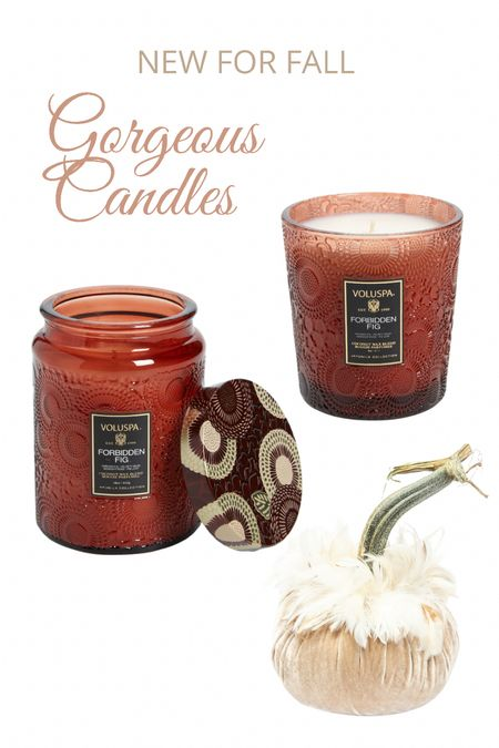 Gorgeous new Voluspa candles for fall! Pair them with a Hot Skwash velvet pumpkin for a sophisticated seasonal look!   #LTKhome #LTKunder50 #LTKSeasonal