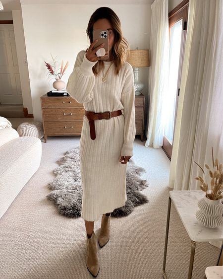 Midi sweater dress extra soft fits oversized xs / available in grey  Leather belt  Pointy toe low heel booties   #LTKunder100 #LTKHoliday #LTKstyletip