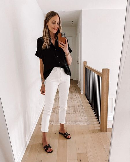 This summer outfit from Everlane is perfect for business casual wore wear or just a chic white jeans outfit. Top and jeans both fit TTS. Sandals are hermes, but also linking identical option on sale for under $60!  #LTKworkwear #LTKunder100 #LTKstyletip