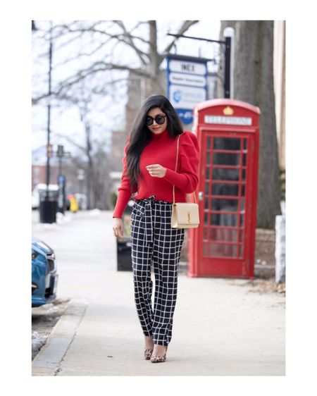 Turtleneck with pizzazz!❤️✨  Wearing this bright and feminine puff sleeve sweater paired with grid print ankle pants! Outfit details- http://liketk.it/2zseN #liketkit @liketoknow.it  You can follow me on the LIKEtoKNOW.it app to get the product details for this look and others!