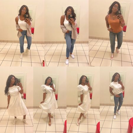 Under $50 Target finds Back to school outfit, White dress Sneakers Studded Sandals Cardigan sweater Tank top Straight leg jeans  #LTKunder50 #LTKstyletip #LTKshoecrush