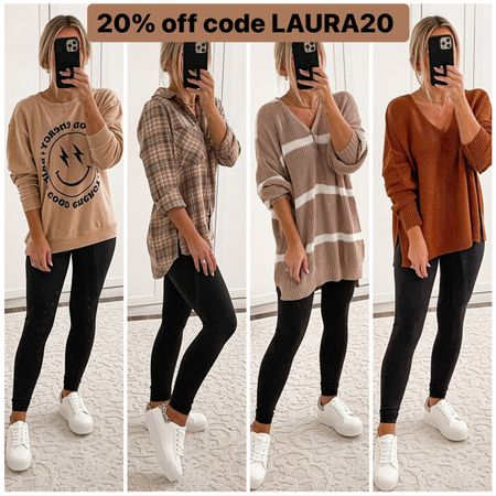 Pink lily fall leggings outfits  Smiley face sweatshirt size small Plaid flannel shirt size small Henley sweater size small Brown bench sweater size small Black leggings size small White sneakers size 7 Gold hair clip Brown braided block heels size 7  #laurabeverlin #fall #outfits  #LTKunder50 #LTKsalealert #LTKshoecrush