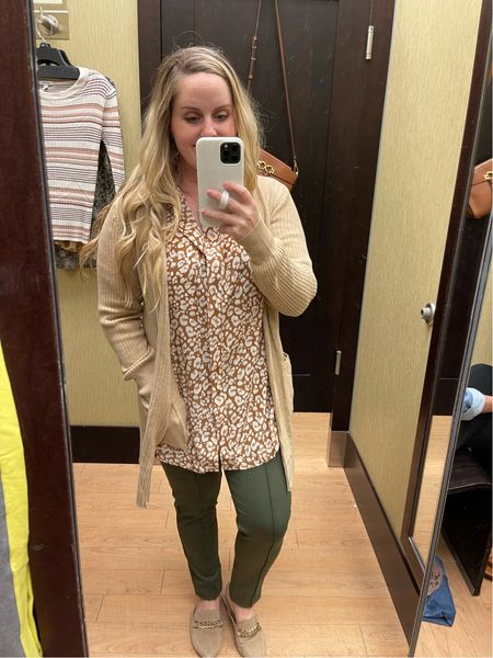 Workwear, office outfit, back to work, business casual, kohl's, pull on pants in olive, tunic, animal print, cardigan, Nine West  #LTKunder50 #LTKstyletip #LTKworkwear