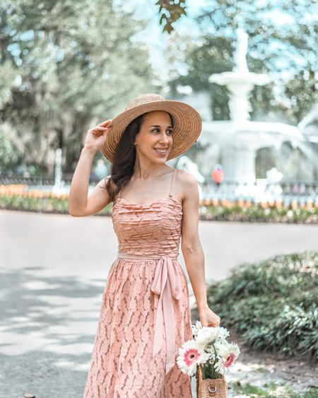 Spring is in the air, which means it's time for my new favorite lacy blush dress to make an appearance!   #LTKtravel #LTKSeasonal #LTKSpringSale