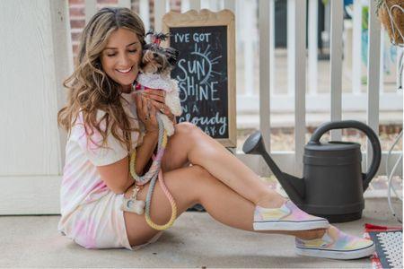 Tie dye summer ombré. Comfy casual tshirt dress. Tie dye sneakers vans slip on shoes. Ombré dog leash rainbow dog leash pastel. Dog style. Dog fashion dog mom   http://liketk.it/3gkgN #liketkit @liketoknow.it #LTKstyletip #LTKunder50
