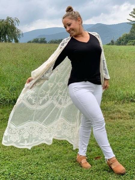 I'm a sucker for a duster kimono and this lace one is dreamy. I linked several options!  Monochromatic : Classic : Statement : White Denim : Jeans : Fall Fashion  #LTKsalealert #LTKunder50 #LTKstyletip