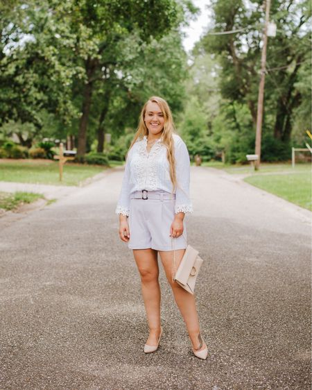Crochet lace top with paperbag waist belted shorts paired with nude envelope clutch and nude pumps    http://liketk.it/2VGjj #liketkit @liketoknow.it #LTKitbag #LTKshoecrush #LTKunder50