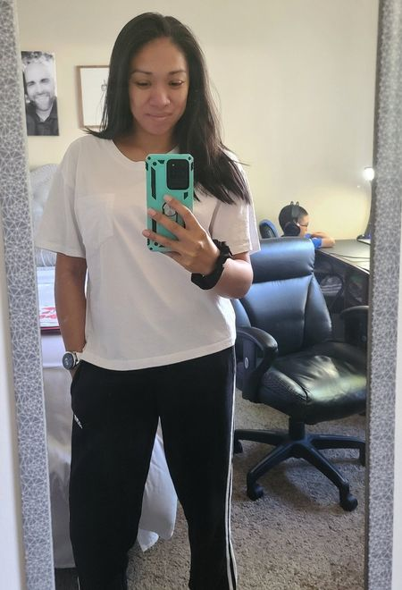 Today's Comfies! Love this basic pocket tee! Sized up for a length and a more oversized look! I need all the colors ❤️ crop style basic white tee basic tee  #LTKsalealert #LTKstyletip #LTKfamily