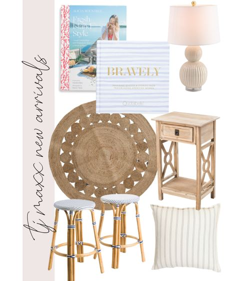 TJ Maxx, rattan, home decor, coastal, Serena & Lily, beach house, books, coffee table books, lamp, cottage, dining chairs, barstools, rug, round rug, side table, white washed, bistro    #LTKunder100 #LTKhome #LTKstyletip