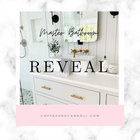It's finally here!  Our master bathroom reveal!  Cannot wait to share it with you!  Link in our stories and at coffeeandcannoli.com 🛁  #LTKhome