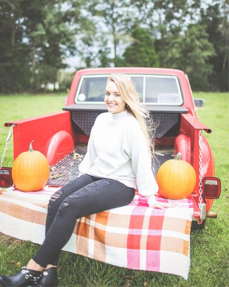 """""""Fallelujah"""" as @treynkennedy says! It's #NationalPumpkinDay, so I had to post a pumpkin pic! 🎃 📷 @katie_beephoto • • • What's your favorite pumpkin dish or dessert? I'm going to be extra basic and tell you mine is definitely a PSL! I'll take those as a dessert any day! I do love a good pumpkin cake though!  • • • It's definitely starting to feel more like Fall in my area! The temps are dropping into the 50's some nights so the sweaters are coming out of the closet!  This cozy pullover sweater comes in 5 colors & can be worn tucked in! It's less than $25!  Follow 'centsibleblonde' on the LIKEtoKNOW.it app to get the product details for this look and others. You can also go to CentsibleBlonde.com to get all looks in one place!   http://liketk.it/2xVGJ #liketkit #LTKunder50 @liketoknow.it"""