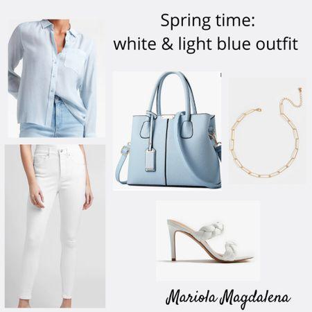 Boyfriend style shirt with white jeans spring outfit   http://liketk.it/3dBeG #liketkit @liketoknow.it   #LTKstyletip #LTKitbag #LTKshoecrush