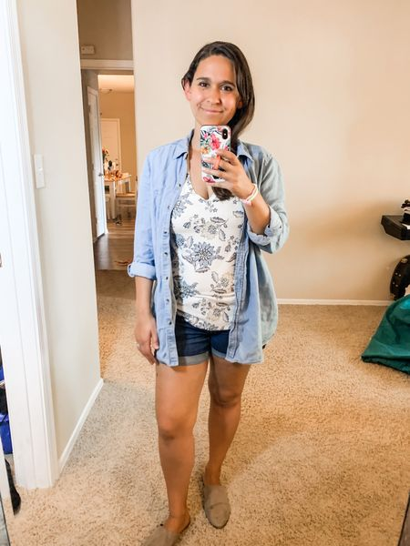 Chambray top, floral tee, jean shorts, mules  #LTKunder50 #LTKSeasonal #LTKstyletip