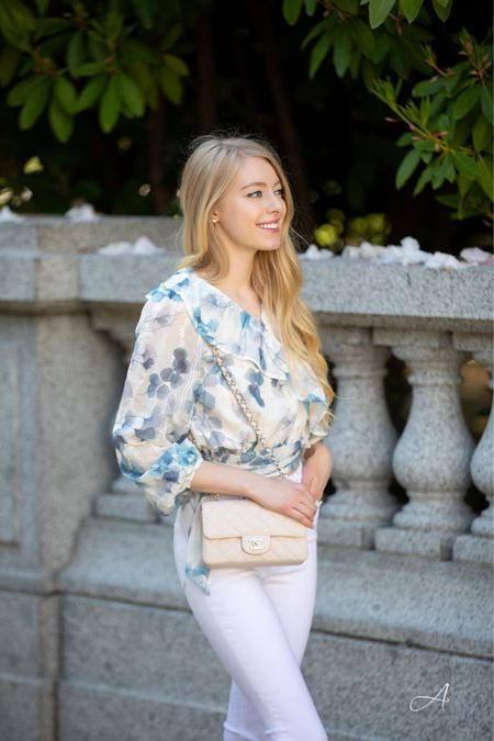 Floral white and blue ruffle top chicwish White skinny jeans high waisted  White bare the row sandals  White Chanel classic mini Spring summer fashion Memorial Day  #LTKunder50 #LTKunder100 #LTKSeasonal