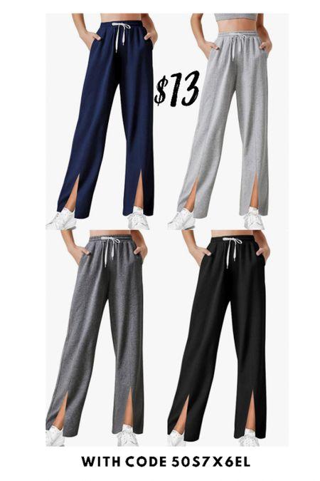Split hem lounge pants only $13 with code 50S7X6EL  #LTKSeasonal #LTKunder50 #LTKsalealert