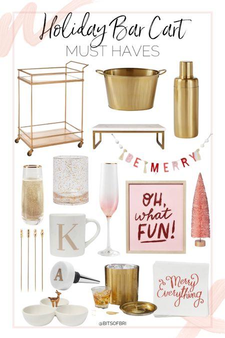 Holiday bar cart must haves!   Bar cart. Bar items. Drinkware. Glasses. Holiday decor    #LTKhome #LTKSeasonal #LTKHoliday