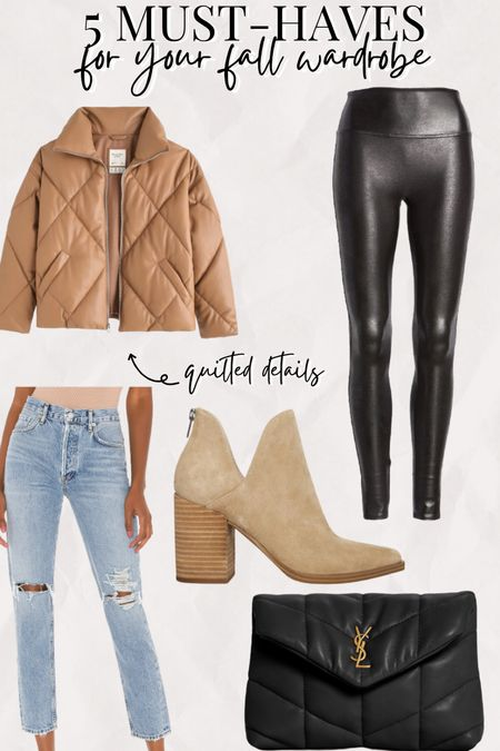 5 must haves for your fall wardrobe Fall 2021 trends Spanx faux leather leggings Suede ankle booties Mom jeans  Quilted handbag and quilted coat   #LTKSeasonal