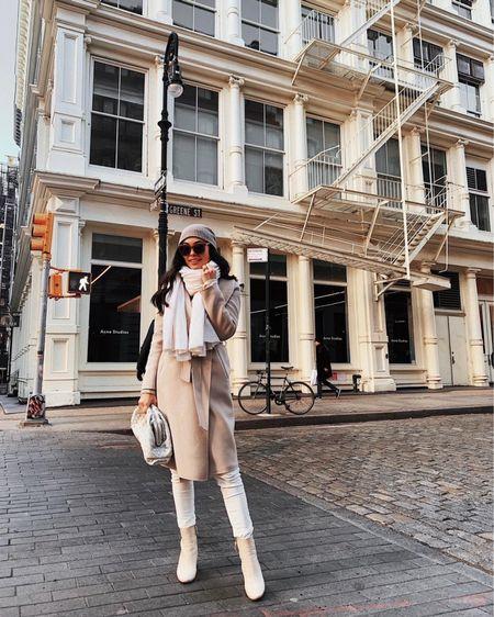 Neutral style. White jeans and ivory cashmere wrap.   #LTKstyletip #LTKshoecrush #LTKSeasonal