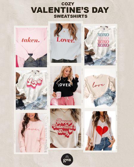 Cozy Valentine's Day sweatshirts - the perfect Valentine's Day Outfit!   #LTKSeasonal #LTKVDay #LTKstyletip http://liketk.it/36TLC #liketkit @liketoknow.it