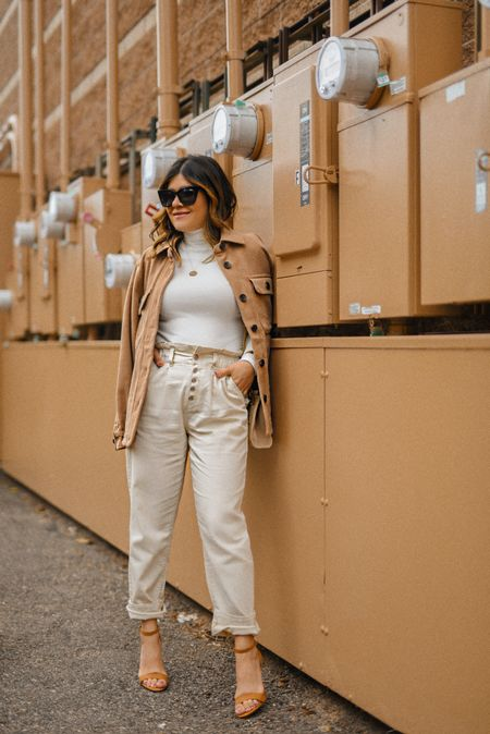 Styling neutrals for fall! - paperbag pants, turtle neck top, shacket, walmart fashion #competition, fall fashion, fall style, outfits, fall outfits, fall style, neutral look  #LTKstyletip #LTKunder100 #LTKSeasonal