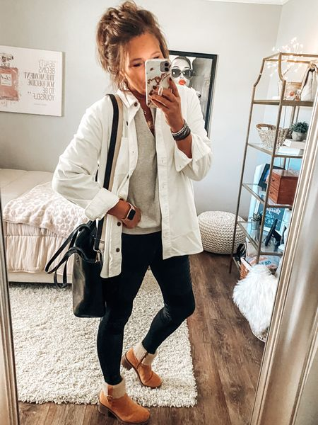 Corduroy shirt jacket from J. Crew Factory, moto leggings from Target with Henley top and black transport tote bag   Fall outfits, target outfits, target style, moto leggings, Shacket, shirt jacket, boots, handbags, totes, sale  #LTKunder50 #LTKstyletip #LTKsalealert