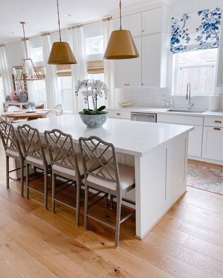 Good morning & happy Monday! This is Veronika from @veronabrit and I can't wait to share our light & airy Houston home with y'all today as I take over the @liketoknow.it.home  page! Let's start off in our kitchen, which is right off of our entryway. We warmed up our white cabinets & quartz countertops with unlacquered brass hardware, brass lighting and touches of color and contrast with grey Chippendale counter stools and a blue and white floral Roman shade. I also added a vintage Turkish oushak runner to infuse even more color into the space! Follow me in the LIKEtoKNOW.it app to shop our home! http://liketk.it/3fhj7 #liketkit @liketoknow.it #LTKhome