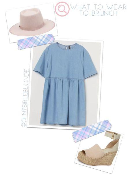What to wear to brunch Denim dress for Spring Pink fedora hat   #LTKshoecrush #LTKunder100 #LTKSeasonal
