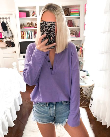 $22 waffle knit Henley top! Comes in lavender and white. Wearing a small! http://liketk.it/2EkcU @liketoknow.it #liketkit #LTKsalealert
