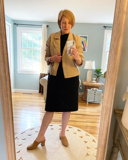 I take a medium in the jacket (linked) Dress is older from Target (similar linked) Shoes older from JCrew (still on Poshmark!)
