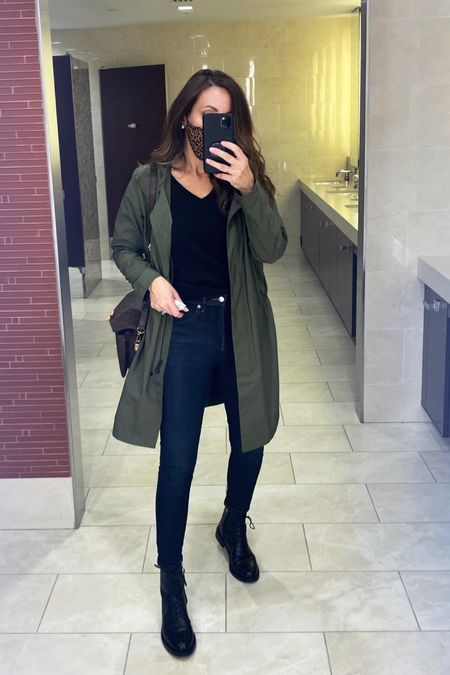 Monday outfit. My anorak is about 5 yrs but linked updated version which is even better   Jeans tts. Sweater in small but also linking a $50 that's just as amazing (i also take small in those)  I sized up in booties   #LTKunder100 #LTKstyletip #LTKshoecrush