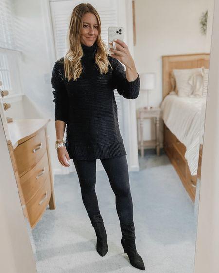 Black turtleneck sweater, black pants, faux leather leggings, black boot  http://liketk.it/30zHW #liketkit @liketoknow.it #LTKunder50 #LTKshoecrush #LTKstyletip