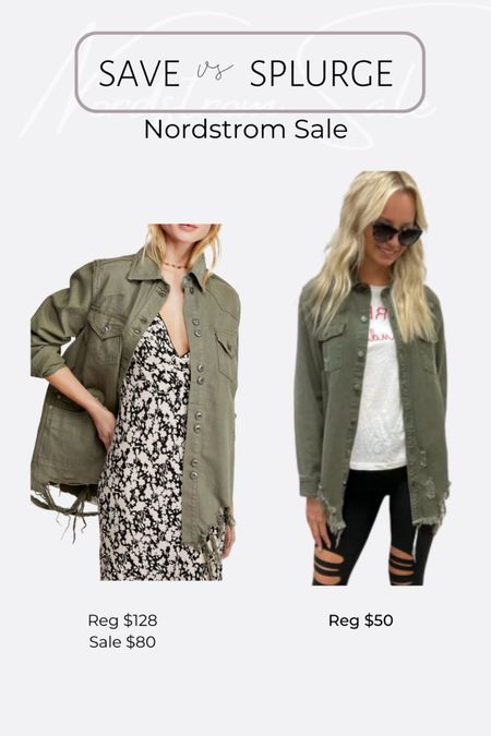 Nordstrom NSale favorite picks and dupes free people distressed green jacket #liketkit @liketoknow.it #LTKunder50 #LTKsalealert http://liketk.it/3jRKf #LTKunder100