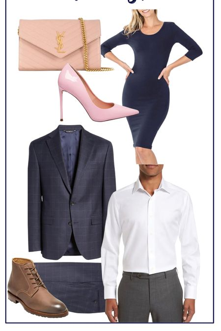 Husband and wife fall wedding looks! Loving the navy color this season that is featured in the suit from Nordstrom and the pops of pink from Steve Madden and YSL! #wedding #weddingoutfit #suit #navy #dress #weddingguest  #LTKSeasonal #LTKworkwear #LTKunder100